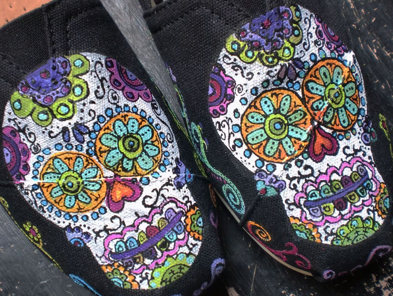 Sugar Skulls Day of the Dead hand painted on by ...
