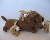 Mommy Dog and Her Puppies PDF Crochet Pattern