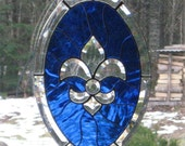 Cobalt Blue Beveled Fleur de Lis Oval Window Hanging
