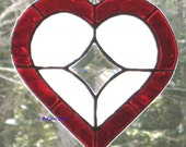 Stained Glass Heart  Red with Star Bevel-My True North