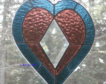 Stained Glass Bevel Heart Suncatcher Love is Forever