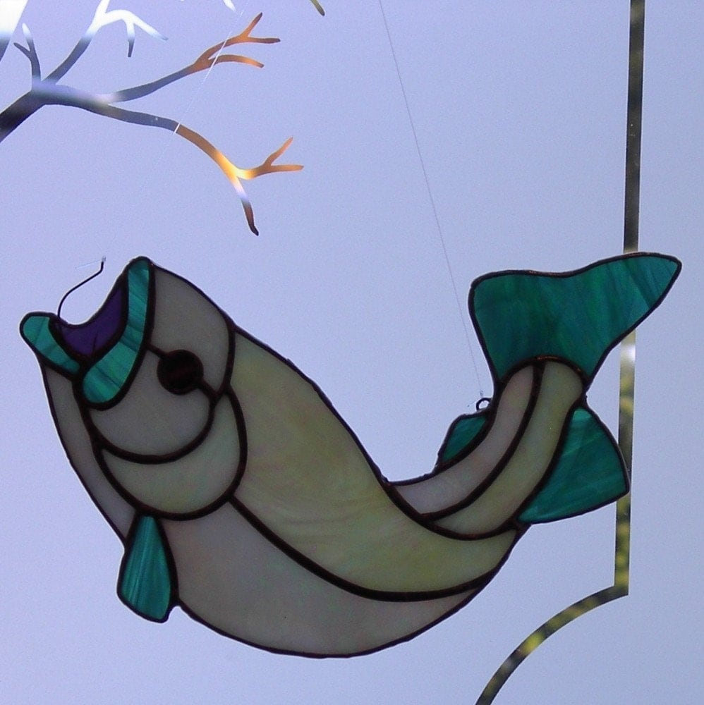 Gotcha hooked stained glass fish sun catcher for Stained glass fish