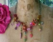 Ohh la la    handcrafted fiber necklace