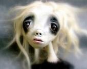 Loopy Art Doll Ornament Lost Soul of Burgundy