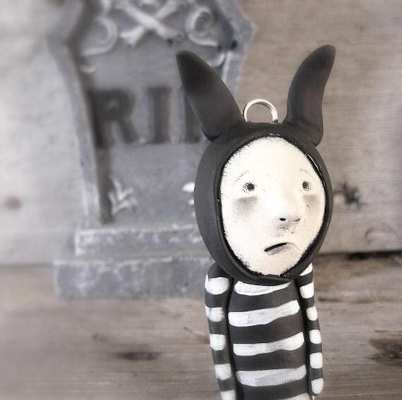 Rabbit Art Doll Halloween Ornament Ooak doll