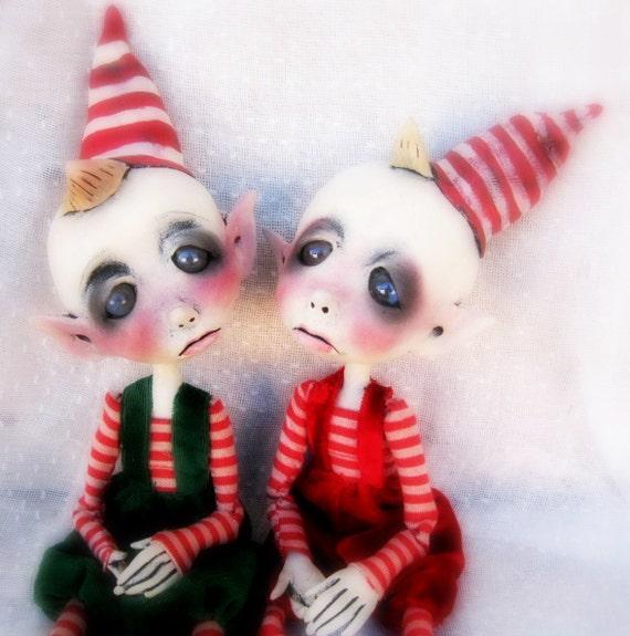 Loopy Ooak Art Doll Christmas Elf Decoration
