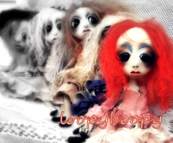 Loopy Art Doll Goth Art Ooak  RESERVED FOR P