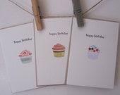 Birthday Cupcake Mini Cards set of 3