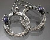 Blue Silver hoop dangle earrings by MustHaves