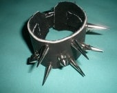 Wicked Awesome Black Leather Spiked & Studded Cuff