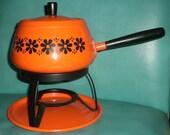 Orange with Black Daisies VINTAGE Fondue pot