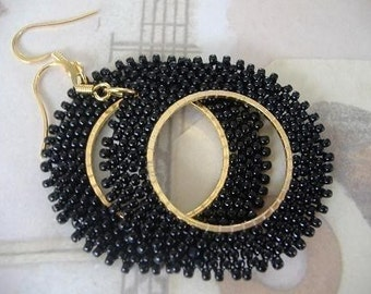 Seed Bead Earrings - Basic Black Beaded Hoop Earrings - Beadwork Statement Jewelry