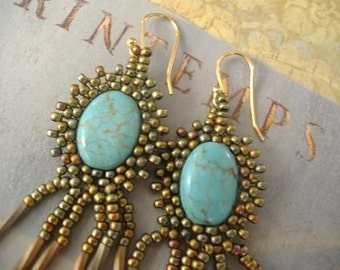 Seed Bead Earrings - Genuine Turquoise Beaded Bezel Dangle Earrings