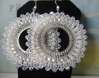 Crystal Hoop Earrings Seed Bead Hoop Earrings Statement Jewelry Wedding Jewelry Gift for Her