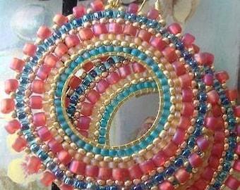 Seed bead Earrings - Aqua Berries Multicolored Bohemian Beadwork Hoop Earrings