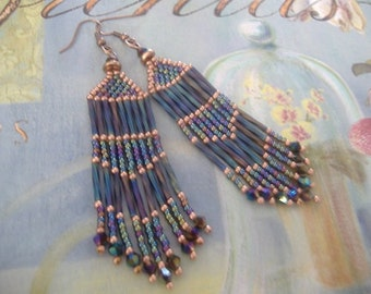Long Copper and Blue Crystal Fringe Seed Bead Earrings