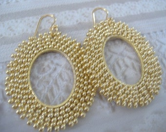 Seed Bead Hoop Earrings Gorgeous Gold Oval Hoop Beaded Earrings