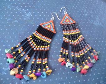 Beaded Fringe Earrings Long Black Multicolored Chandelier Earrings