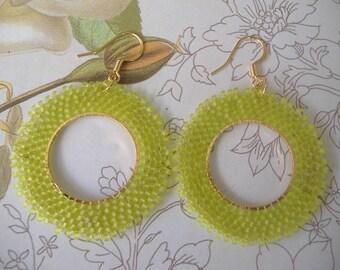 Chartreuse Seed Bead Hoop Earrings Beadwork Jewelry