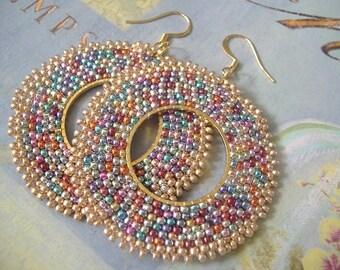 Seed Bead Hoop Earrings Sparkles Big Bold Multicolored Beadwork Earrings - BIG BLING