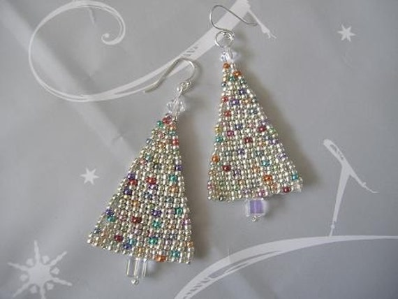 Items Similar To Christmas Tree Seed Bead Earrings