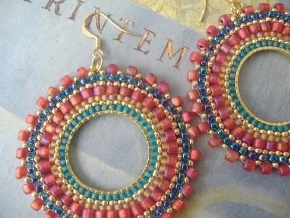 Hoop Earrings - Aqua Berries Multicolored Seed Bead Earrings