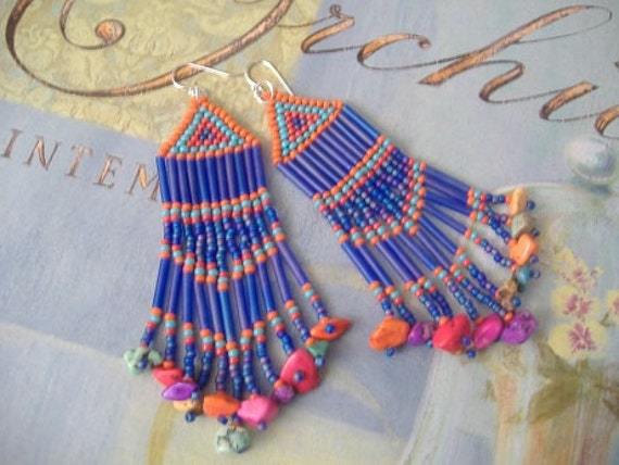 Long Fringe Beaded Chandelier Earrings