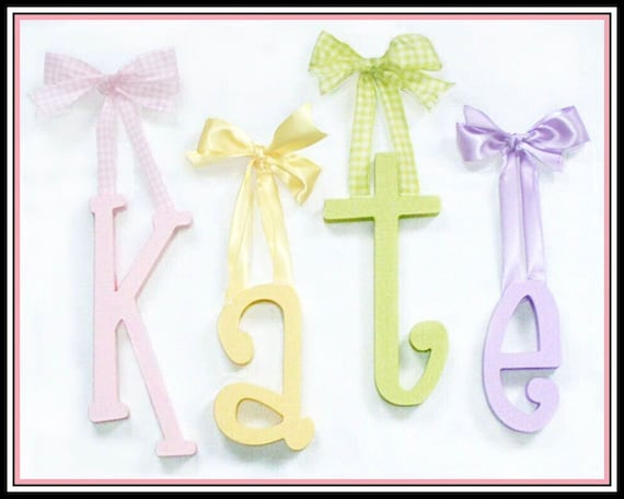 Custom Hand Painted Solid KiDs Wooden Nursery Letters By