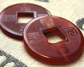 Etched Agate Chinese Coin pendants - 2 pendants - 40mm each - semiprecious stone - orange