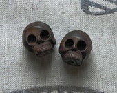 Carved Wooden Skull beads - 35mm - 2 center drilled wood beads - chocolate brown - bead supplies