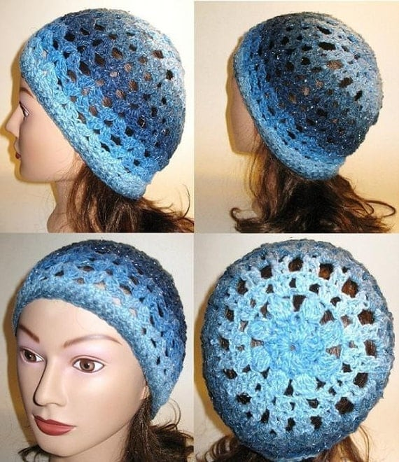 Items similar to Crochet hat pattern openwork slouchy ...