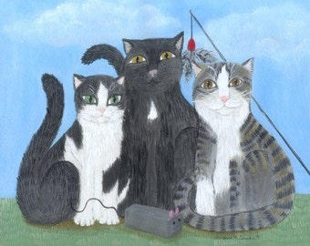Three Kitties Magnet or ornament, Cat Art, Kitty Art, cats with favorite toys, 3 cats
