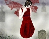 The Mourning Fairy Mounted Gothic Print