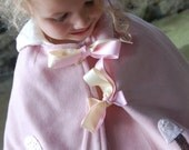 SALE Sunday Best Pink Woolen Cape Upcycled from Vintage Wool Organic Fleece Lining 2 to 4 yrs Spring Shabby Cic Kids