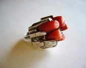 1960's Modernist Sterling and Coral Stalagmite Ring