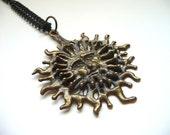 1970s Cast Bronze Sun Face Necklace