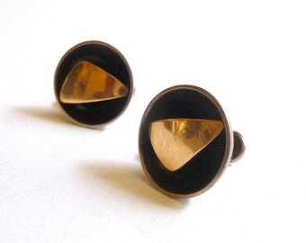 SUMMER SALE Modernist 14K Gold Fill and Sterling Earrings by Ed Levin Screwback