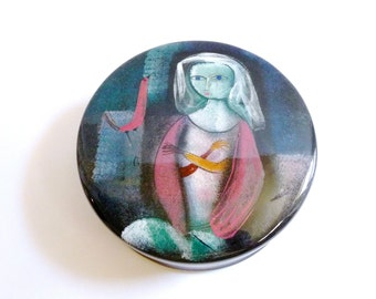 SUMMER SALE Modernist Figural Ceramic Box by Polia Pillin