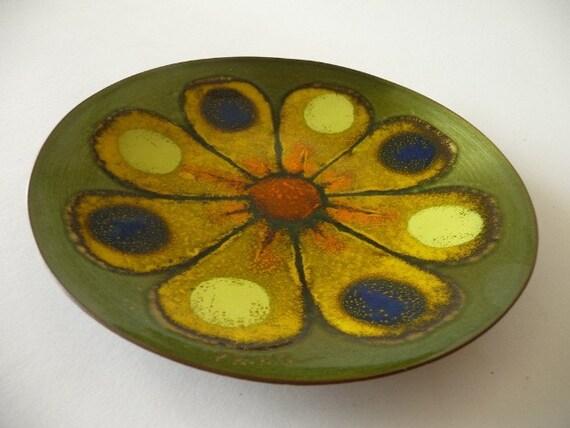 1970s Copper Enamel Daisy Plate