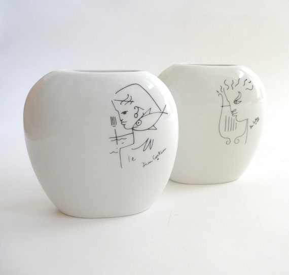 Jean Cocteau Porcelain Vase Set