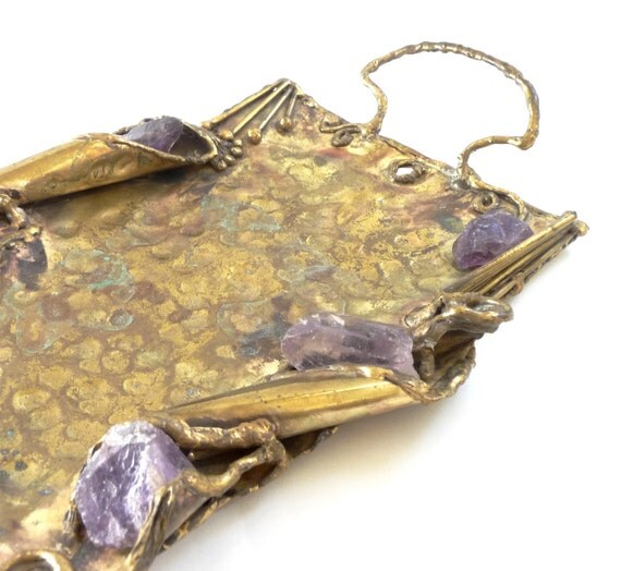 1970s Brass and Raw Amethyst Tray by Copa Collection  Brutalist Mid Century Modern