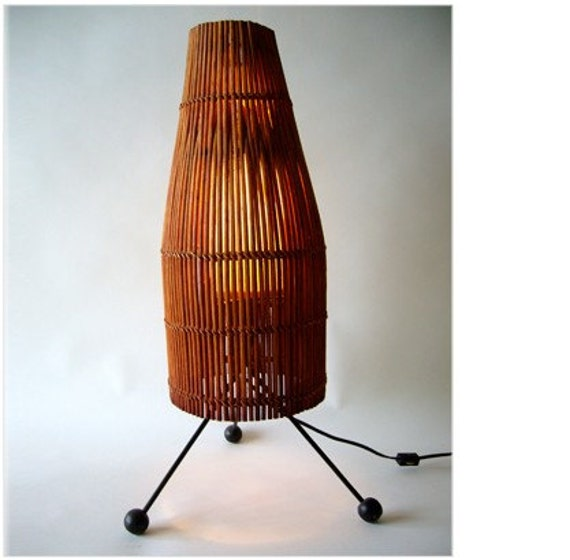 1950s Mid Century Modern Rattan and Metal Lamp  Modernist