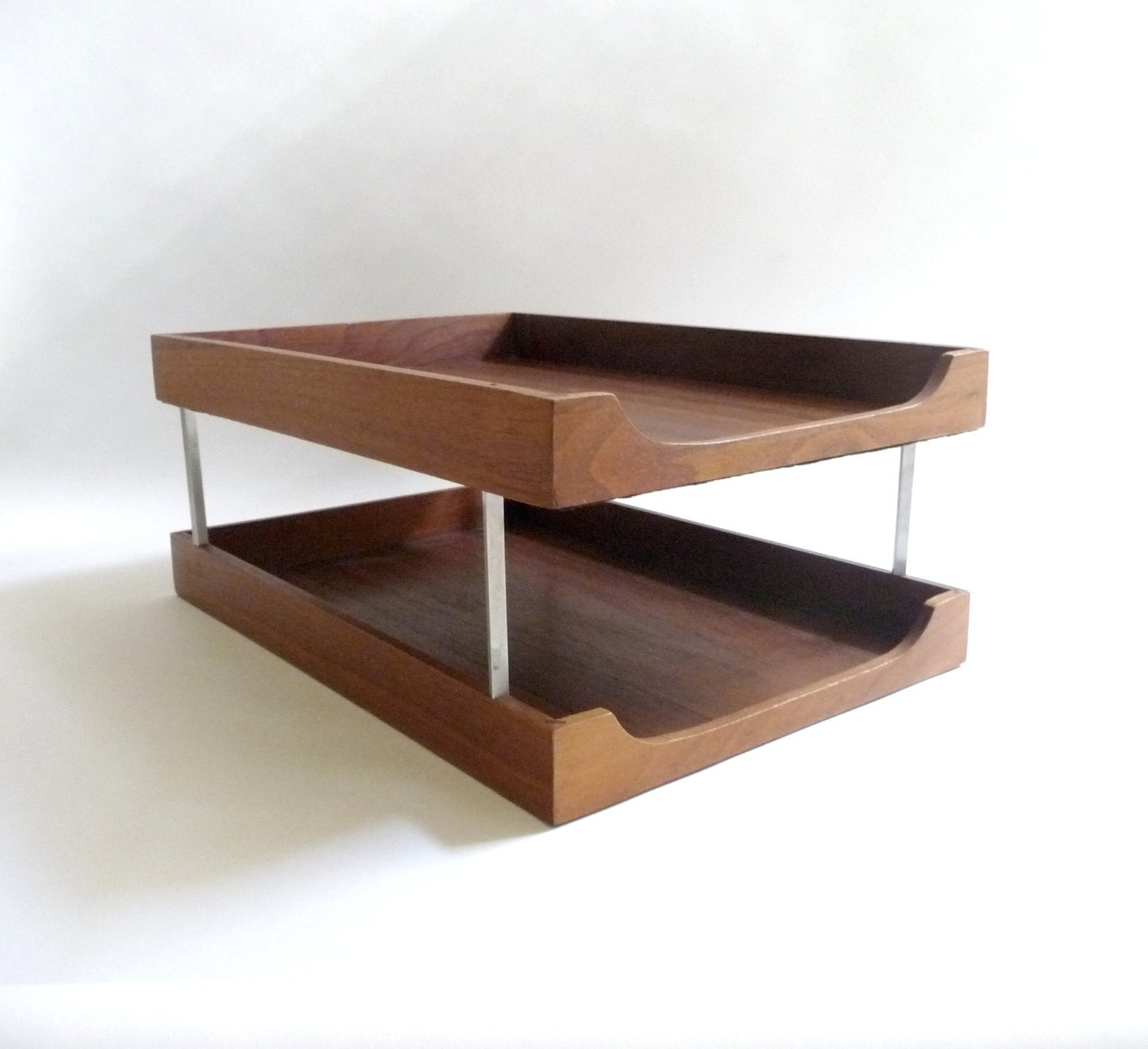 mid century modern wood and metal letter tray desk organizer With wood desk letter tray