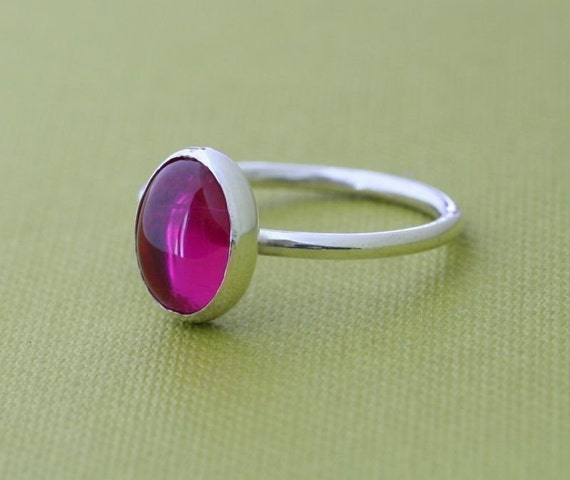 Oval Red Ruby Ring • Size 2 to 15 • Sterling Silver Gemstone