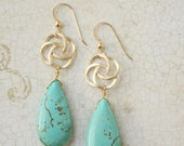 IN STOCK Drew matte gold mod turquoise earrings from Girls Day Out