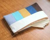 Color Block Stripes Zipper Pouch