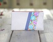 Zipper Pouch - Leaves and Stripes