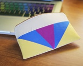 Color Block Triangles Zipper Pouch - LIMITED EDITION special lining.