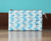 Ruffled Mini Clutch -  Blue Squiggles