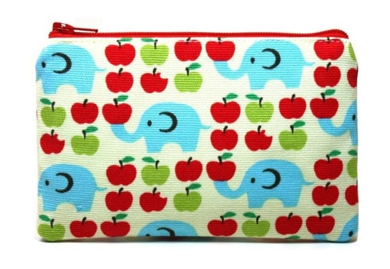 Elephants and Apples Zipper Pouch